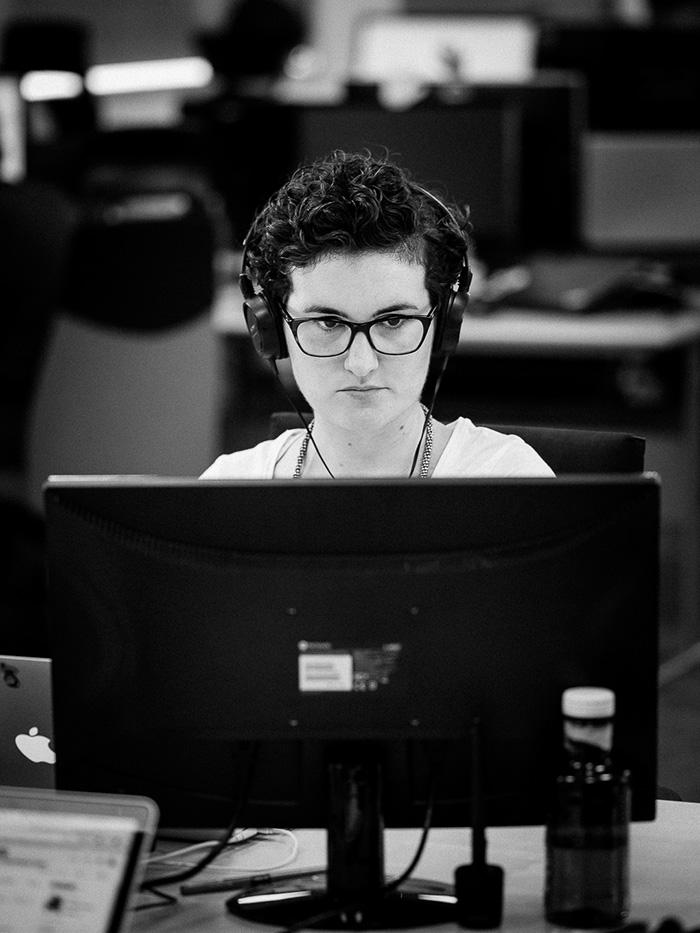 María Munuera trabajando en Tecnilógica